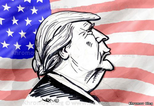 Donald Trump cartoon profile new US president caricature cartoon USA