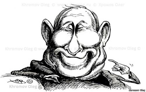 caricature of Putin Dr. Evil | Botox plastic surgery cartoon